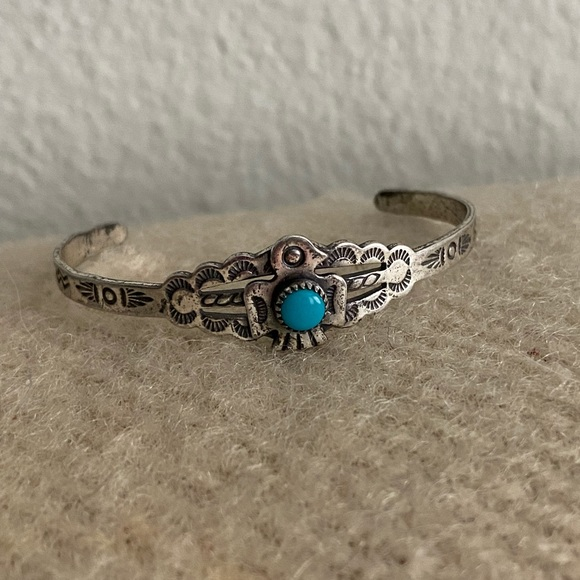 Sterling silver with turquoise thunderbird cuff